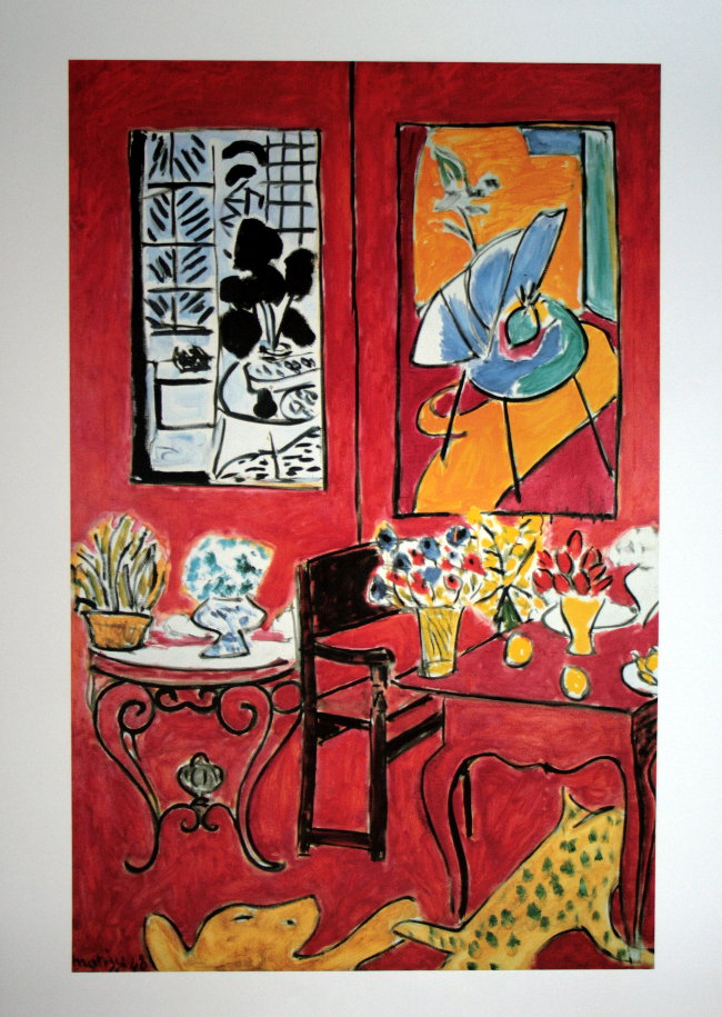 Henri matisse grand int rieur rouge 1948 reproduction for Interieur rouge matisse