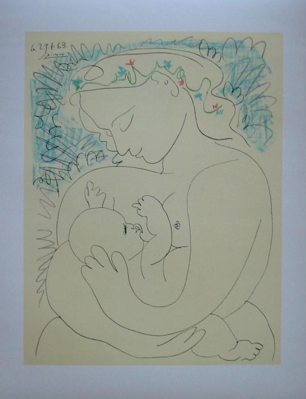 Pablo PICASSO : La maternité, 1963 (50 x 65 cm) : Lithographie d ...