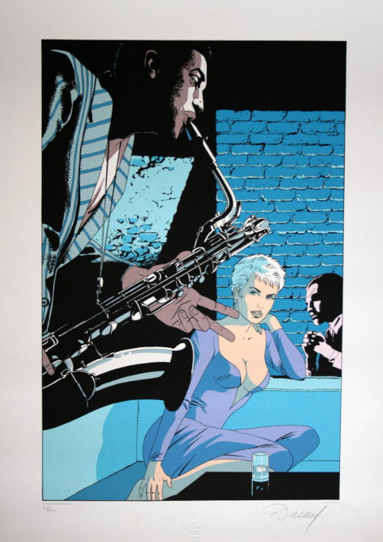 Renaud signed serigraph, Jessica Blandy : The Blue note