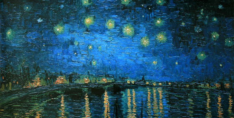 vincent van gogh starry night over the rhone 1888 reproduction fine art print poster 100. Black Bedroom Furniture Sets. Home Design Ideas
