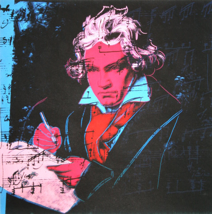 andy warhol poster   beethoven  red face   1987