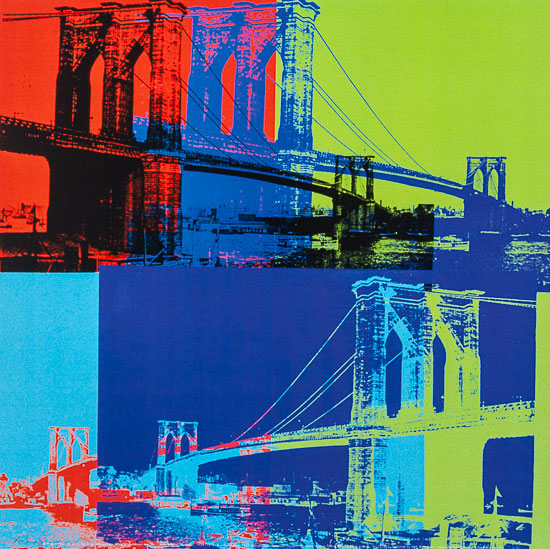 Lámina Andy Warhol, Brooklyn Bridge (Orange, Blue, Lime), 1983