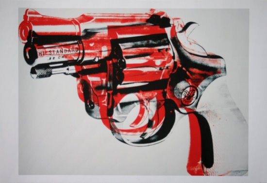 Stampa Andy Warhol, Gun (black, red, white), 1982