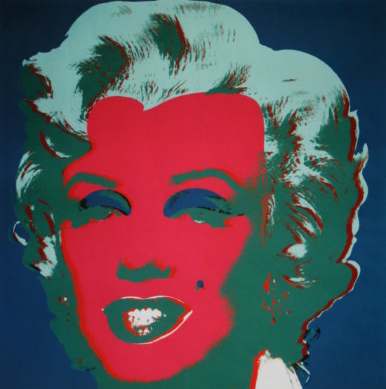 Andy Warhol poster print, Marilyn Monroe (on peacock blue, red face), 1967