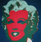 Andy Warhol : Marilyn Monroe (On peacock blue, red face), 1967