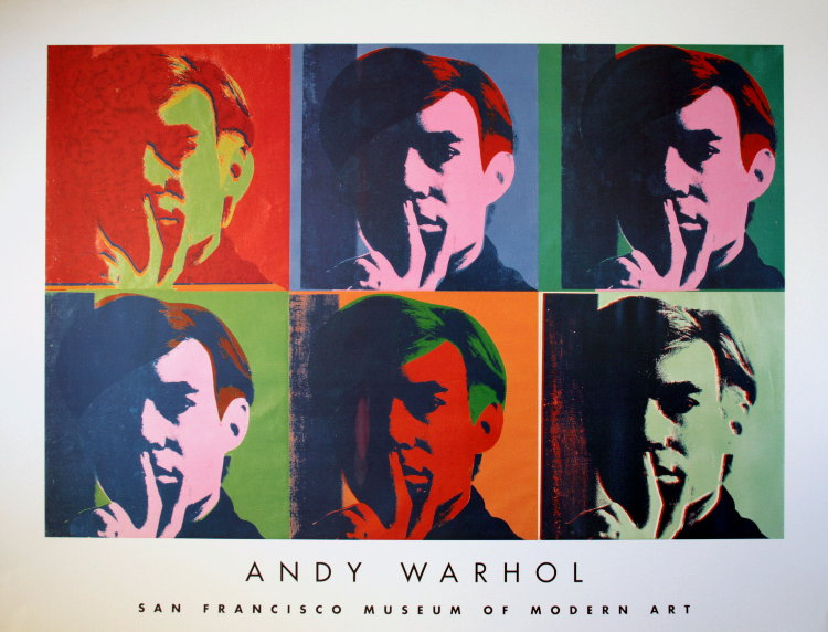 affiche andy warhol six autoportraits 1967 reproduction poster. Black Bedroom Furniture Sets. Home Design Ideas