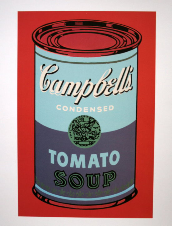 Andy Warhol poster print, Campbell's Soup Can, 1965 (blue & purple)