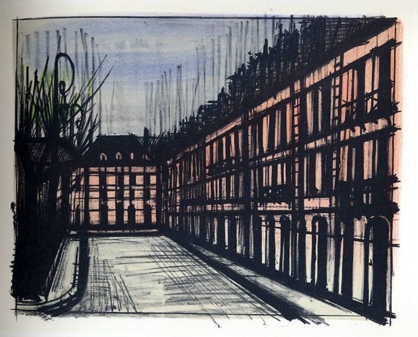 Bernard buffet reproduction en lithographie de 1967 paris la place des vosges - Magasin reproduction tableau paris ...