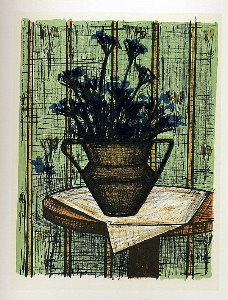 Reproduction Bernard Buffet, Vase de fleurs