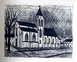 Reproduction Bernard Buffet, L'Eglise