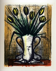Reproduction Bernard Buffet, Vase de tulipes