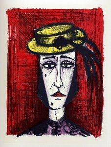 Reproduction Bernard Buffet, En robe fantaisie