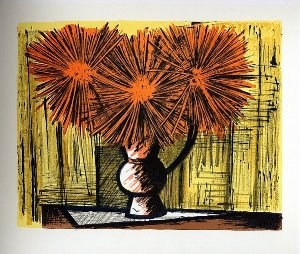 Reproduction Bernard Buffet, Dahlias sur fond jaune