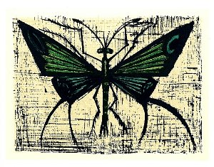 Reproduction Bernard Buffet, Papillon vert