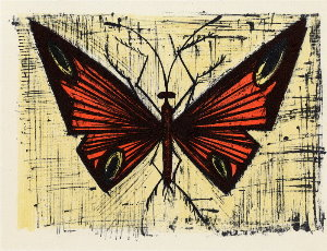 Reproduction Bernard Buffet, Le papillon rouge et jaune