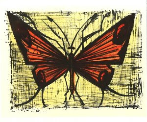 Reproduction Bernard Buffet, Le papillon orange