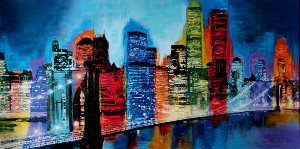 Affiche Brian Carter, Abstract New York skyline at night