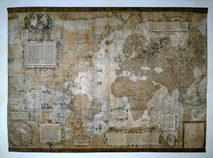 Map of the world Art print, Italian map of the XVIth century