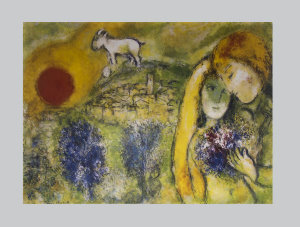 Marc Chagall print, The lovers of Vence, 1957