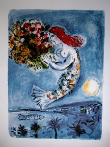 Marc Chagall print, The Bay of Angels, 1962