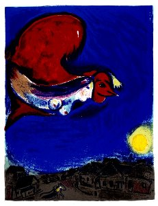Marc Chagall print, The woman with the red rooster, 1950