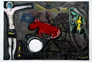 Marc Chagall print, The mystical crucifixion, 1950