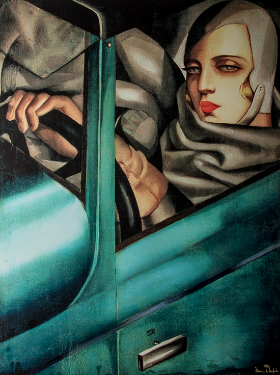 Tamara De Lempicka poster print, Self-portrait in the green Bugatti, 1925