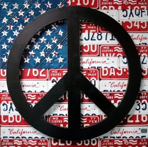 Affiche Aaron Foster, American Flag Peace Sign