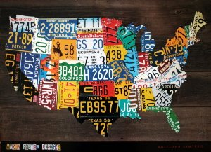 Affiche Aaron Foster, USA Map II
