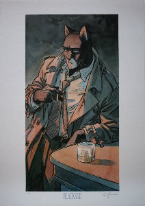 Lámina firmada Guarnido, Blacksad - Bar