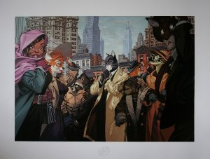 Stampa Juanjo Guarnido : Blacksad dans la foule, à New York