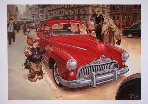 Stampa Juanjo Guarnido : Blacksad, voiture rouge