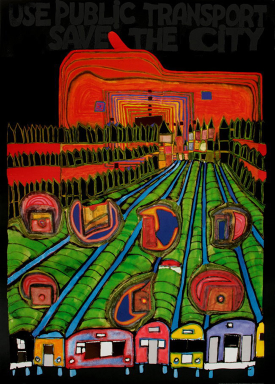 Hundertwasser poster print, Save the City