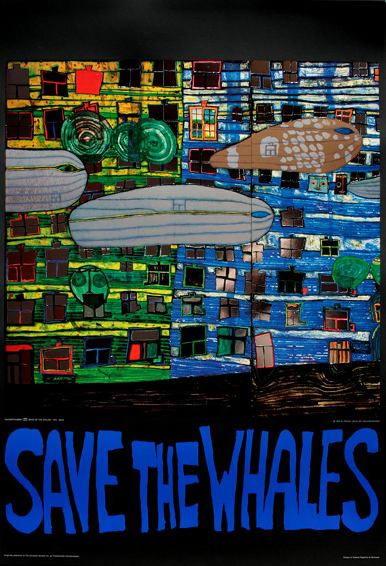 Friedensreich Hundertwasser : Save the Whales : Reproduction, Fine Art Print