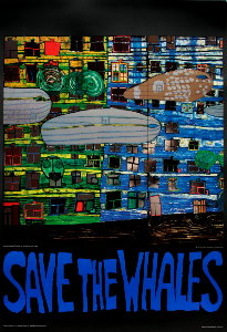 Affiche Hundertwasser, Save the Whales