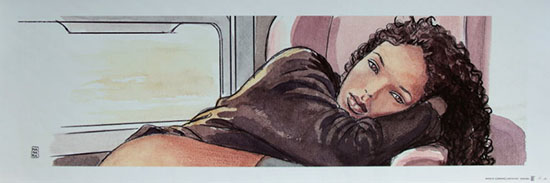 Milo Manara signed Art print, Train