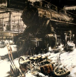 Antonio Massa print, Le dépôt de locomotives
