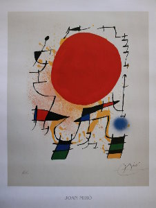 Stampa Joan Miro, Le soleil rouge