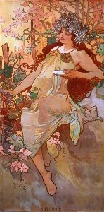 Alfons Mucha print, The fall
