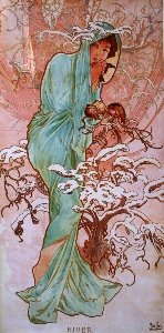 Alfons Mucha print, The winter