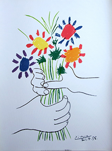 Pablo Picasso Lithograph, Hands with Bouquet (1958)