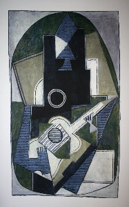 Pablo Picasso serigraph, Man with a Guitar, 1918