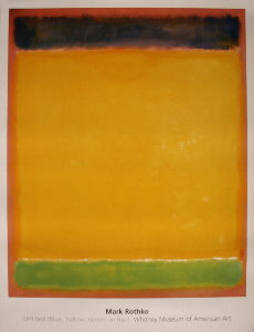 Mark Rothko poster, Blue, yellow, green on red