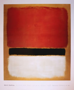 Mark Rothko poster, Red Black white on yellow, 1955