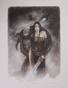Lámina firmada Luis Royo, The Guardian of the Black Dragon