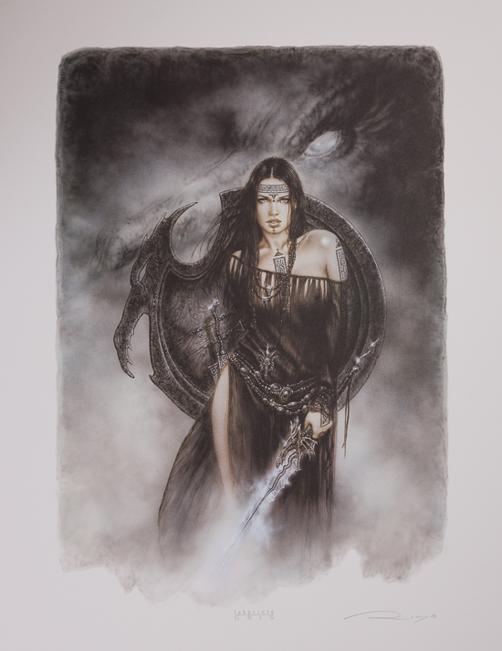 Affiche signée de Luis Royo : The Guardian of the Black Dragon