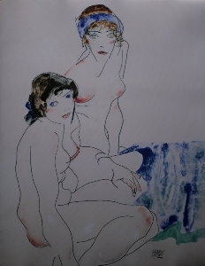 Egon Schiele print, Two Female Nudes by The Water