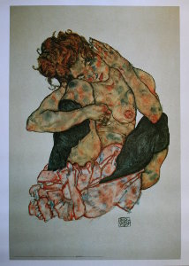 Egon Schiele print, Crouching Nude Girl with Cheek Resting on Right Knee, 1917