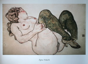 Egon Schiele print, Nude with Green Stockings, 1918