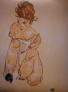 Egon Schiele print, Nude with the necklace